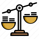 balance, business, coin, finance, scale icon