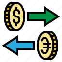 coin, currency, dollar, euro, exchange icon