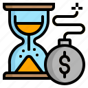 date, deadline, hot, hourglass, time icon
