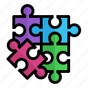 mix, parts, piece, puzzle, strategy icon