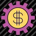 cash, exchange, rate, setting icon