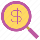business, find, money, search icon