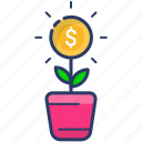 coin, eco, growth, money, plant icon, profit, tree icon