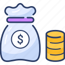 budget, cash icon, finance, investment, money bag, revenue icon