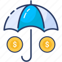 business icon, insurance, investments, money, protection, umbrella icon