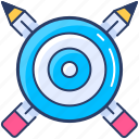 darts, goal, pencil, strategy icon, target icon