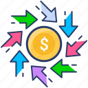 cash, coin, exchange, money, transfer icon icon