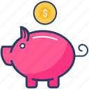 bank, dollar, finance icon, piggy, piggy bank, savings icon