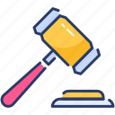 gavel, gdpr, hammer icon, law, legal, penalties, tax icon