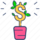 business, charitable donation, currency, economy, finance, plant, retirement icon