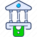 bank, building, business, currency, deposit, finance, money icon