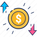 currency, dollar, loss, profit, profit and loss, ups and down profit icon icon