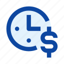 business, clock, estimate, finance, money, time icon
