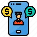 currency, exchange, online, payment, smartphone icon