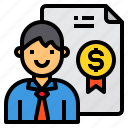 business, certificate, finance, man, manager icon
