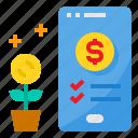 investment, money, online, smartphone, startup, tree