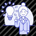 aha, boss, brainstorm, brilliant, business, idea, ideas, lightbulb, solution, startup, woman icon