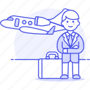 business, flight, foreign, investment, man, meetings, migration, seminar, travel, trip icon