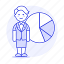 analytics, business, businessman, chart, economic, graph, pie, statistic, woman icon