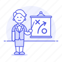 3, business, businessman, path, plan, presentation, report, strategy, tactic, woman icon