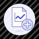 add, analytics, business, chart, file icon
