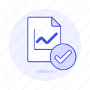 analytics, business, chart, check, file, synced, verified icon