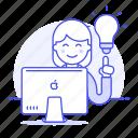 apple, business, creative, digital, idea, ideas, imac, light, lightbulb, mac, pc, solution, woman, work