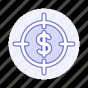 aim, business, cash, crosshair, currency, dollar, goal, metaphors, money, sight, target