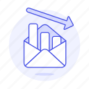 analytics, arrow, business, chart, decreasing, down, email, envelope, graph, letter icon