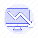 analytics, arrow, business, decreasing, down, imac, mac, pc, red icon