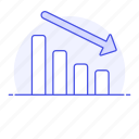 analytics, arrow, bar, business, chart, decreasing, drecreasing, expense, graph, loss, red icon