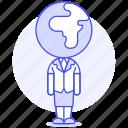 1, business, global, head, people, woman, world icon