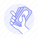 1, business, cash, dollars, hand, metaphors, money, ready icon