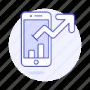 analytics, app, arrow, bar, business, chart, graph, increasing, line, phone, smartphone, up