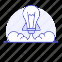 business, ideas, launch, lightbulb, rocket, startup, undertake icon