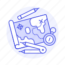 business, compass, goal, map, navigation, parchment, strategy, tactic icon