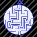 business, labyrinth, maze, perceptive, puzzle, strategy, success icon
