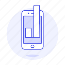 analytics, app, bar, business, chart, graph, mobile, phone icon