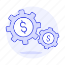 business, cog, flow, gears, metaphors, money, structure, system icon