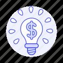 brilliant, business, dollar, idea, lightbulb, metaphors, millionaire, money, sign