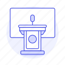 business, rostrum, conference, podium, microphone, speech, stand, presentation icon