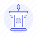 business, rostrum, conference, podium, 2, microphone, speech, stand, presentation icon