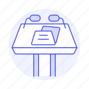 business, rostrum, conference, podium, microphone, two, speech, stand, presentation icon