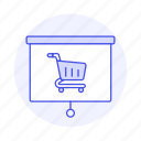 business, buy, cart, presentation, projection, projector, purchase, pushcart, screen, shop icon