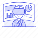 1, augmented, business, environment, man, presentation, reality, virtual, vr icon