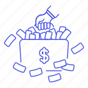1, banknote, briefcase, business, cash, dollar, luggage, metaphors, money icon