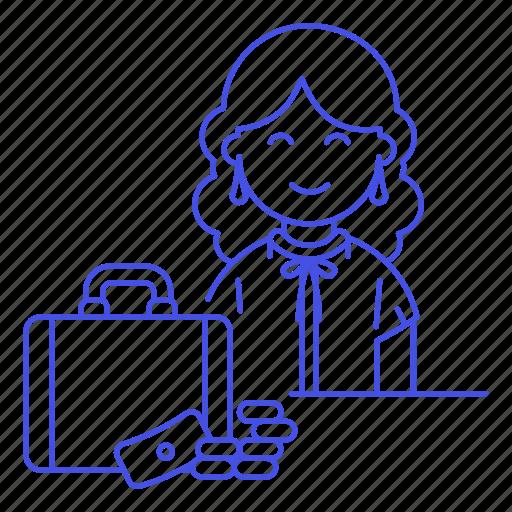 adviser, briefcase, business, cash, consultant, deal, female, money, people, sale, sales, woman icon
