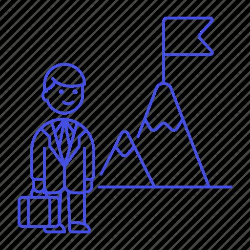 1, business, businessman, challenge, journey, man, mountain, peak, pursuit, startup, strategy, undertake icon