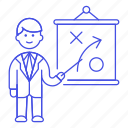 man, presentation, business, tactic, businessman, path, report, strategy, plan icon