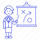 businessman, woman, business, strategy, plan, report, presentation, tactic, path icon